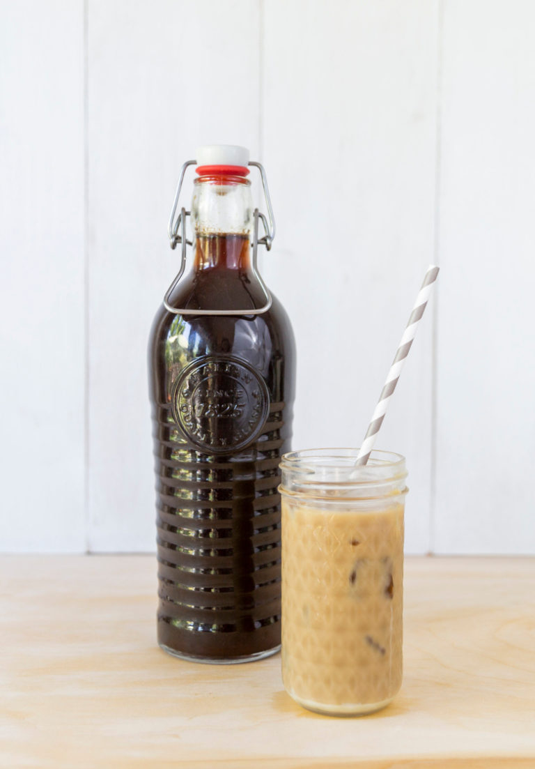 the finished instant pot Vietnamese iced coffee served in a tall mason jar glass