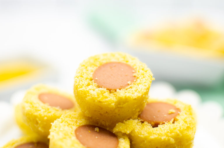 the finished instant pot corn dog bites served on a white plate