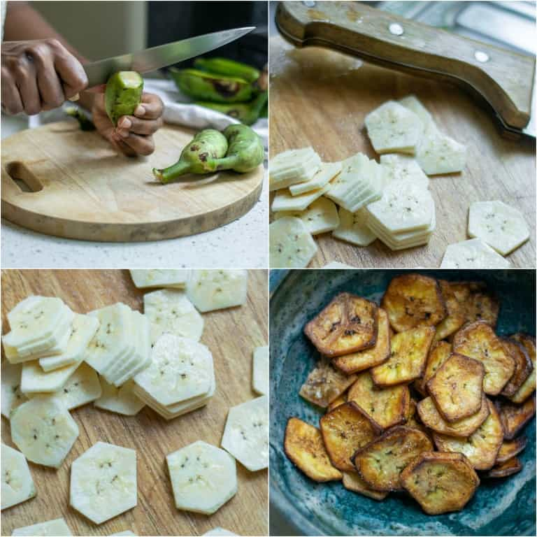 image collage showing the steps for making plantain chips