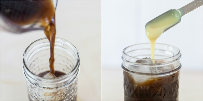image collage showing the steps for making Vietnamese iced coffee