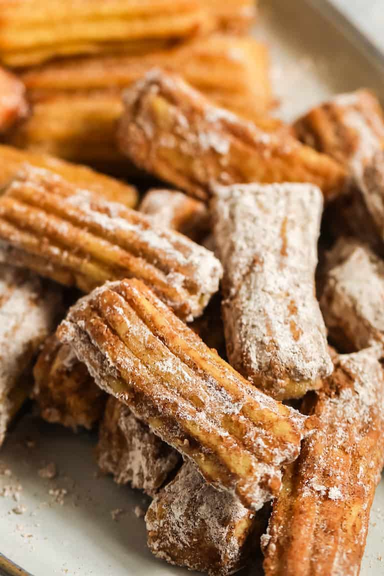 close up of the finished air fryer churros