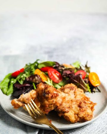 a plate of air fryer fried chicken