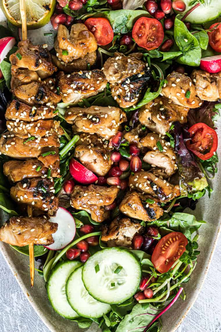 close up of the grilled chicken salad