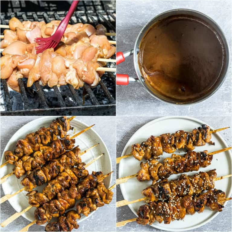 image collage showing the final steps for making grilled chicken skewers