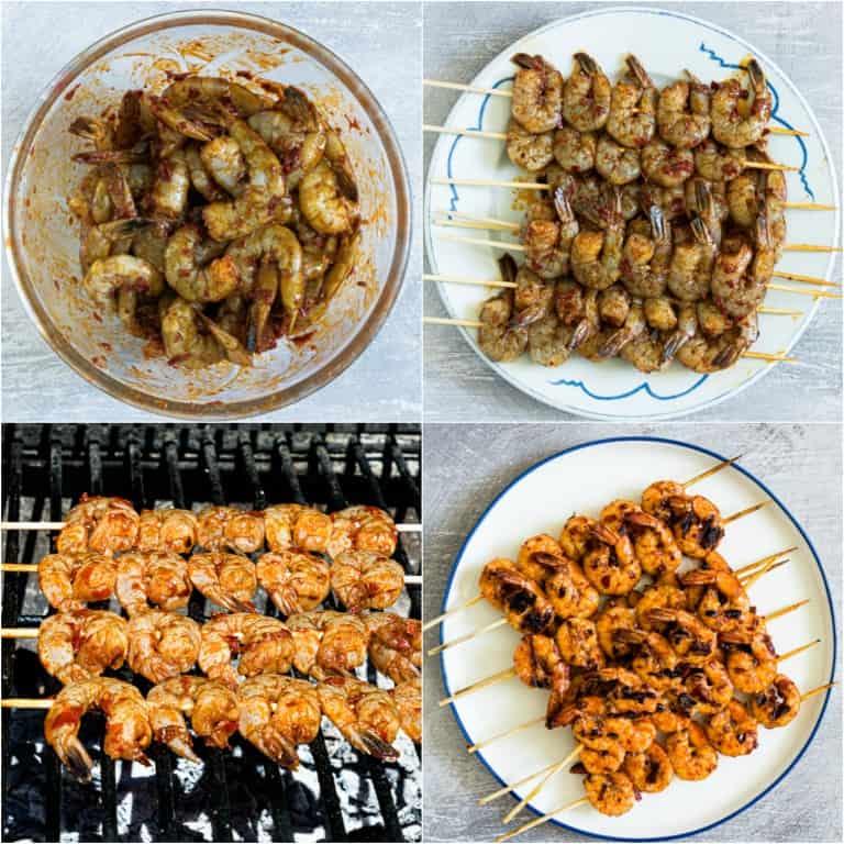 image collage showing the steps for making grilled shrimp skewers