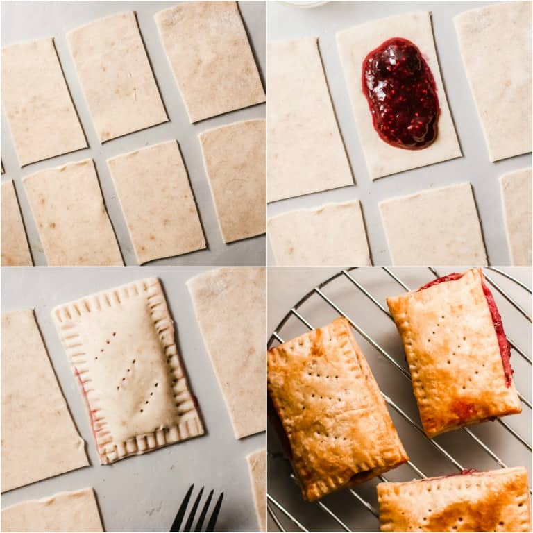 image collage showing the steps or making homemade pop tarts
