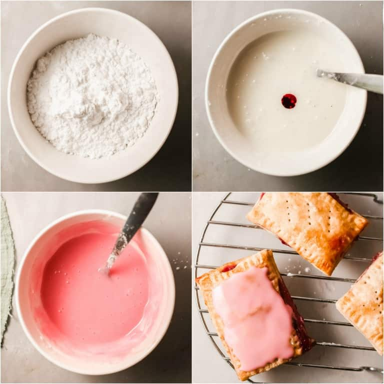 image collage showing the steps for making the glaze topping for homemade pop tarts