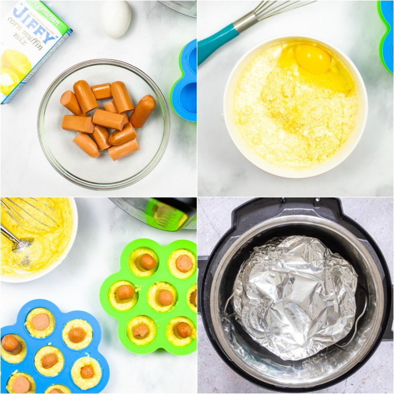 image collage showing the steps for making instant pot corn dog bites