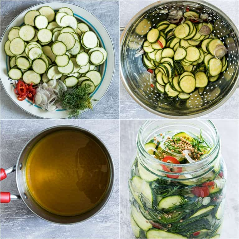 image collage showing the steps for making pickled zucchini
