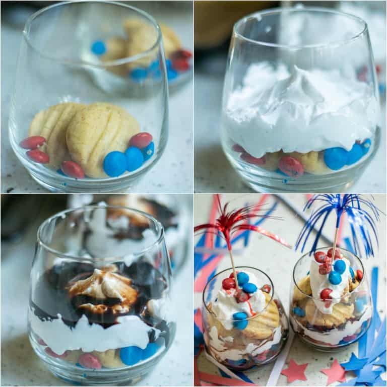 image collage showing the steps for making red white and blue trifle