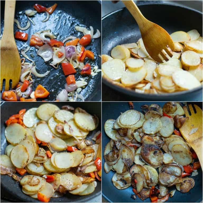 image collage showing the steps for making smothered potatoes