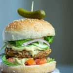 a completed version of the veggie burger air fryer recipe