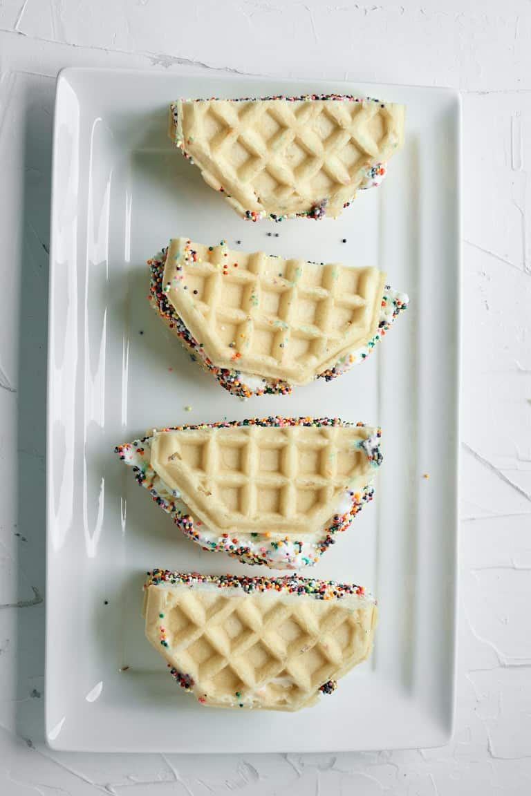top down view of completed waffle ice cream sandwich recipe