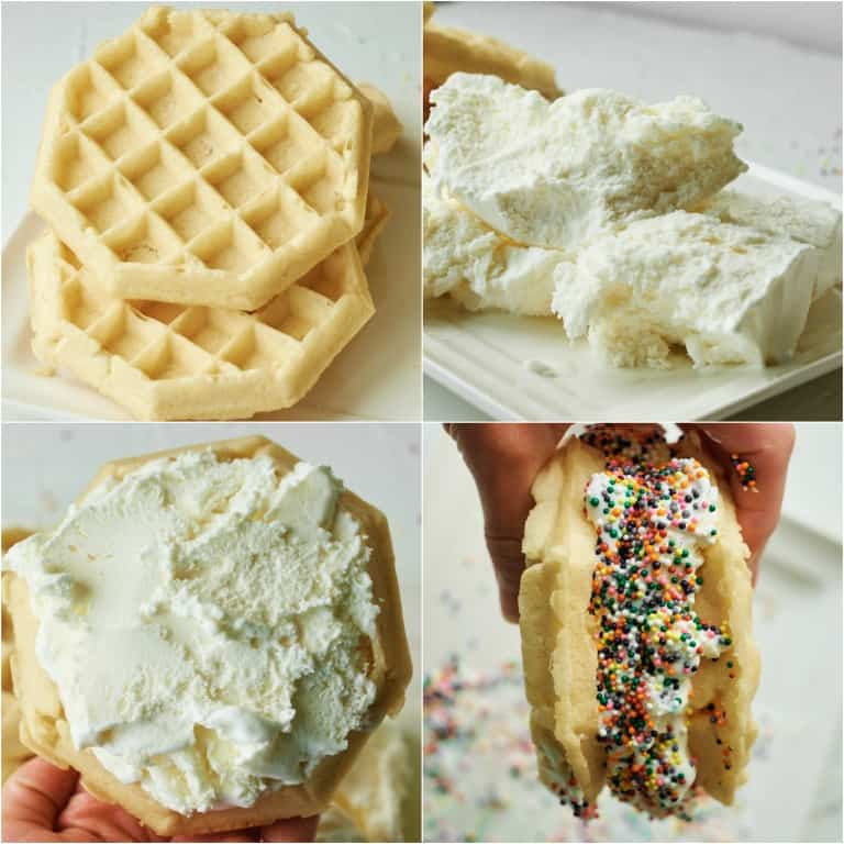image collage showing the steps for making a waffle ice cream sandwich