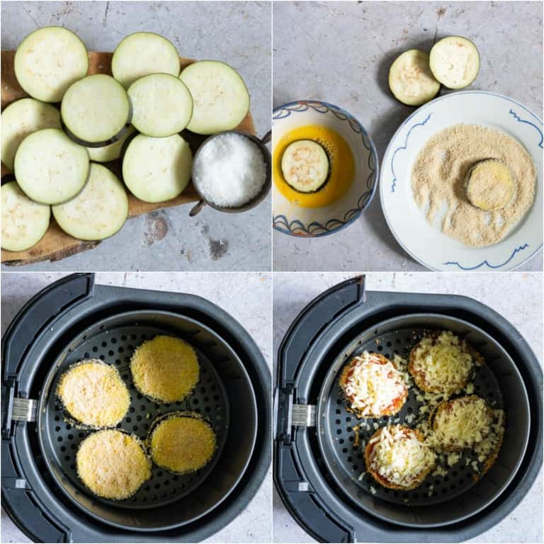 image collage showing the steps for making air fryer eggplant parmesan