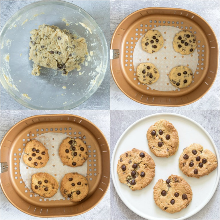 image collage showing the steps for making air fryer cookies