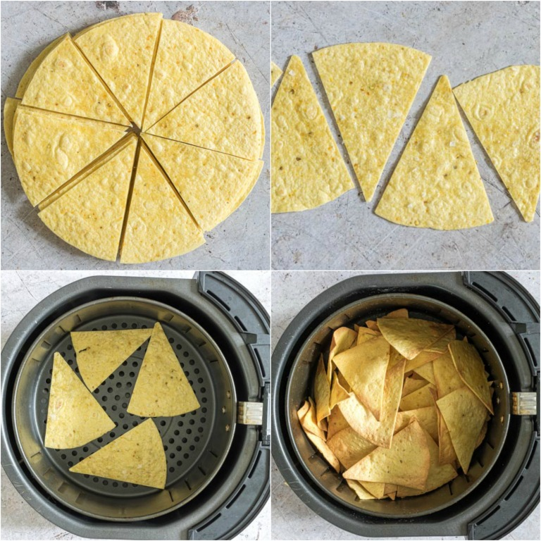 image collage showing the steps for making air fryer tortilla chips