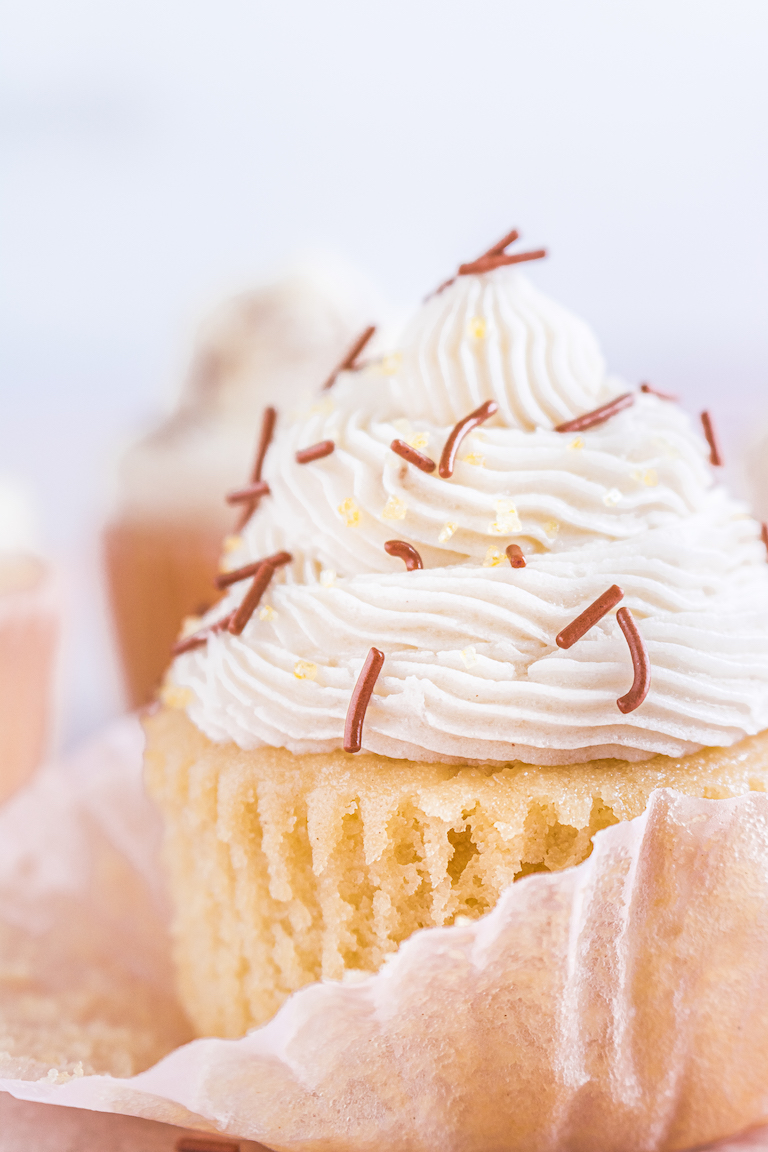close up view of one of the completed bourbon spice cupcakes