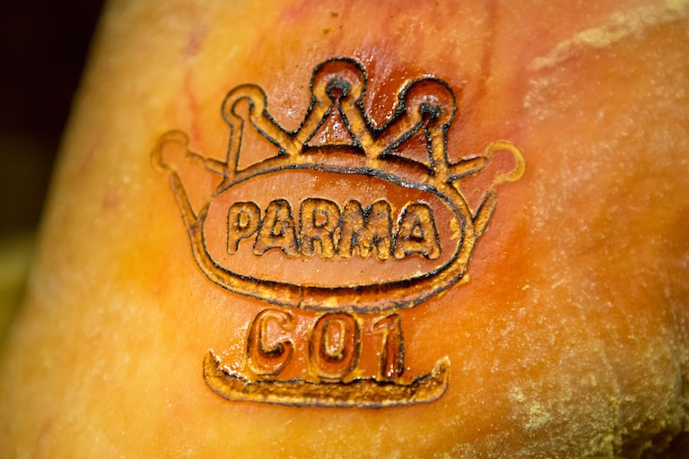 close up of the parma ham ducal seal