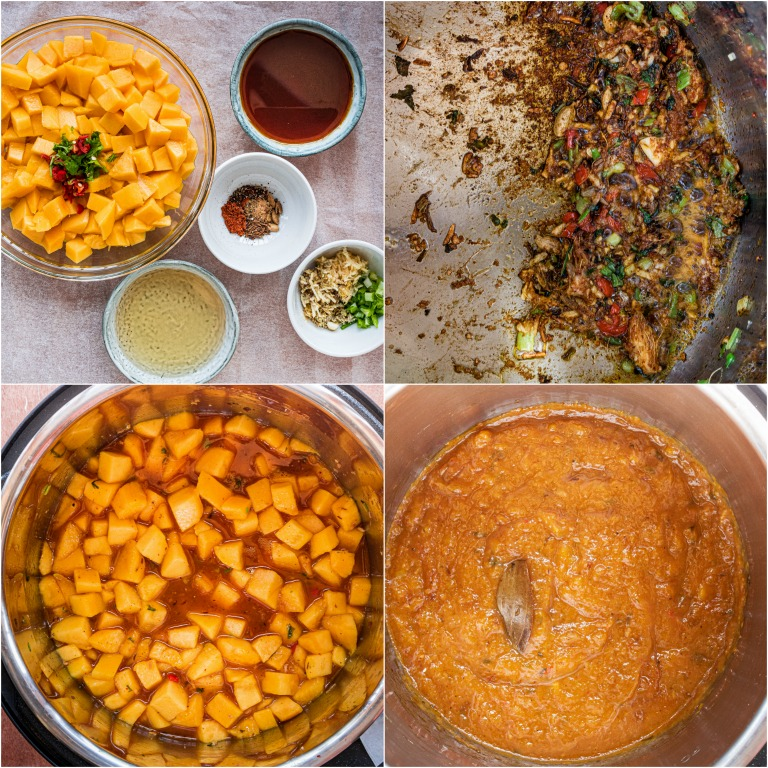 image collage showing the steps for making instant pot mango chutney