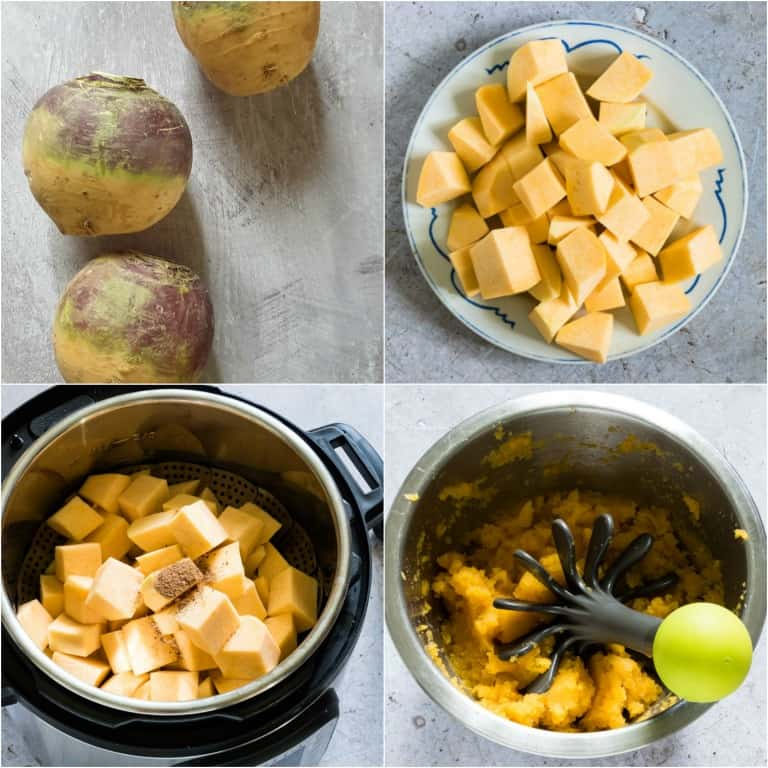 image collage showing the steps for making instant pot rutabaga mash