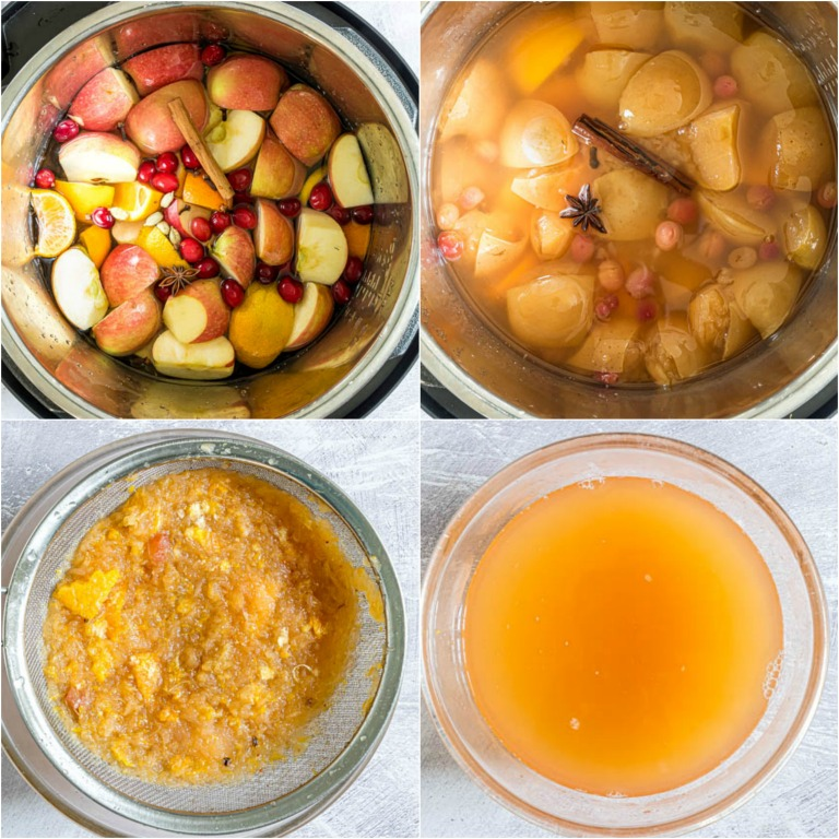image collage showing the steps for making instant pot apple cider