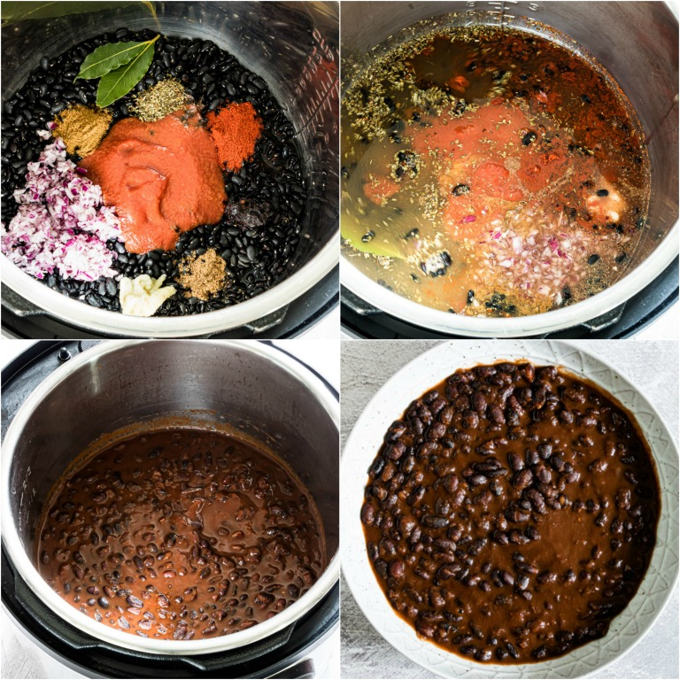 image collage showing the steps for making instant pot black beans stew