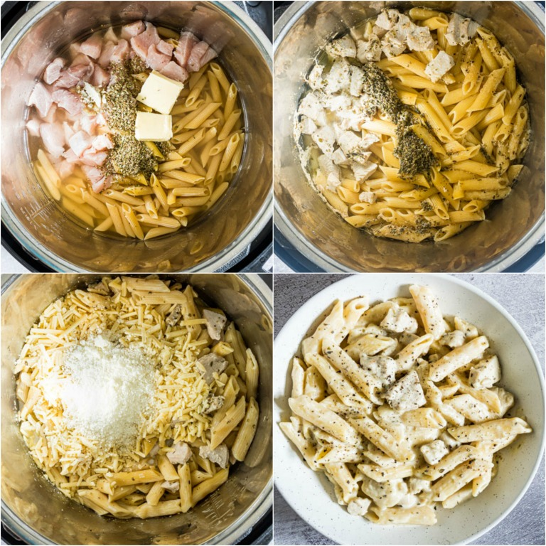 image collage showing the steps for making chicken mac and cheese in instant pot