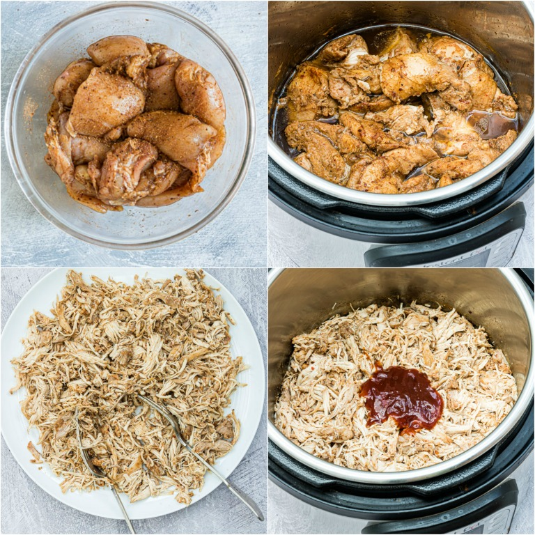 image collage showing the steps for making instant pot pulled chicken