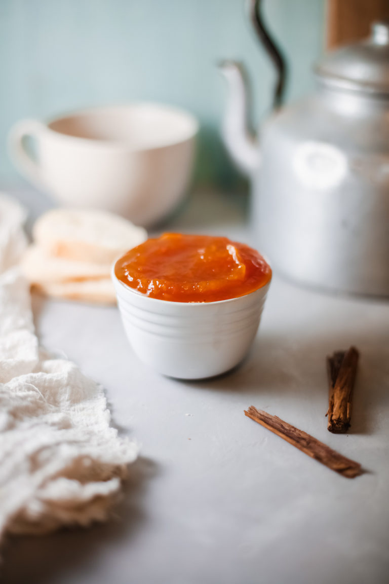 a white bowl filled with instant pot pumpkin butter