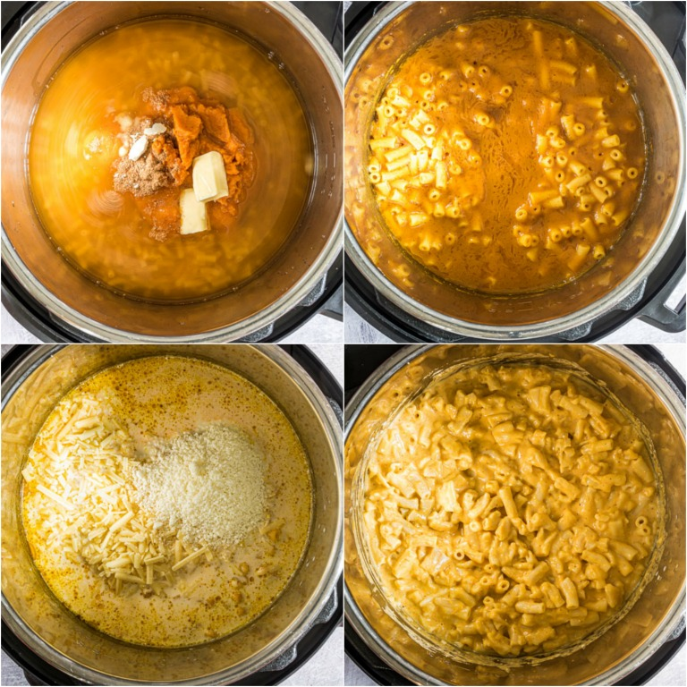 image collage showing the steps for making instant pot pumpkin mac and cheese