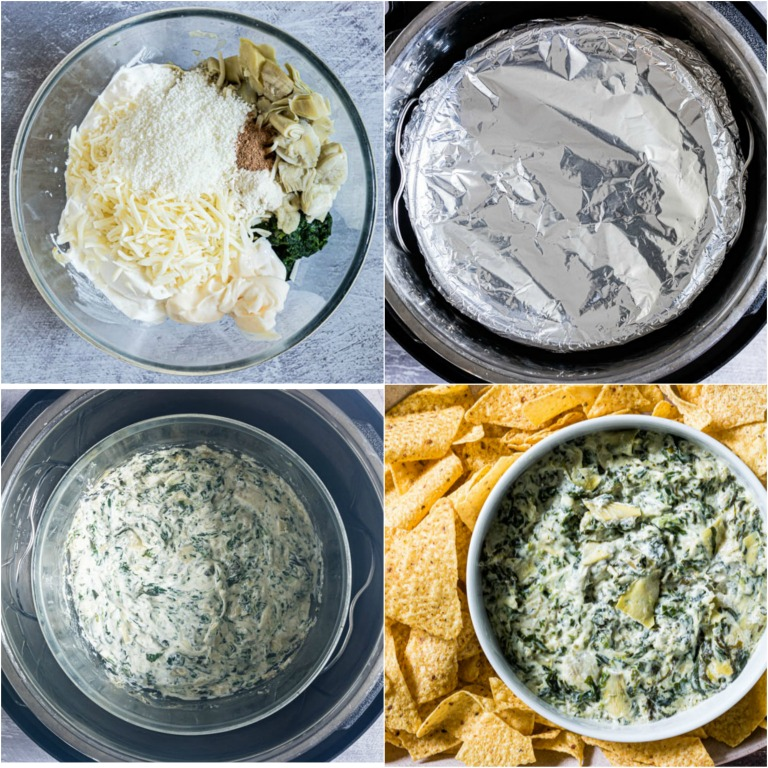 image collage showing the steps for making instant pot spinach artichoke dip