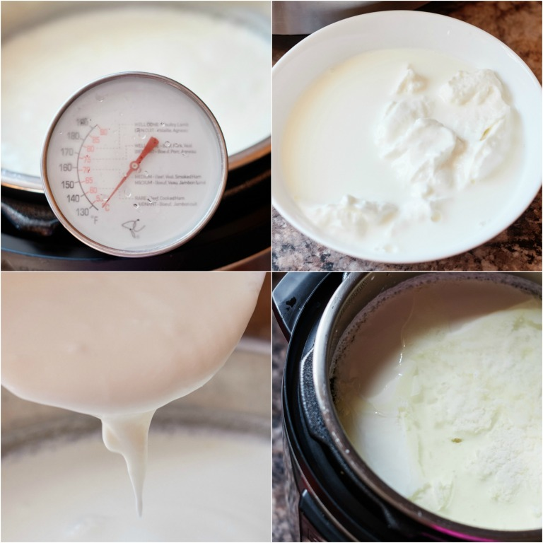 image collage showing the steps for making instant pot yogurt