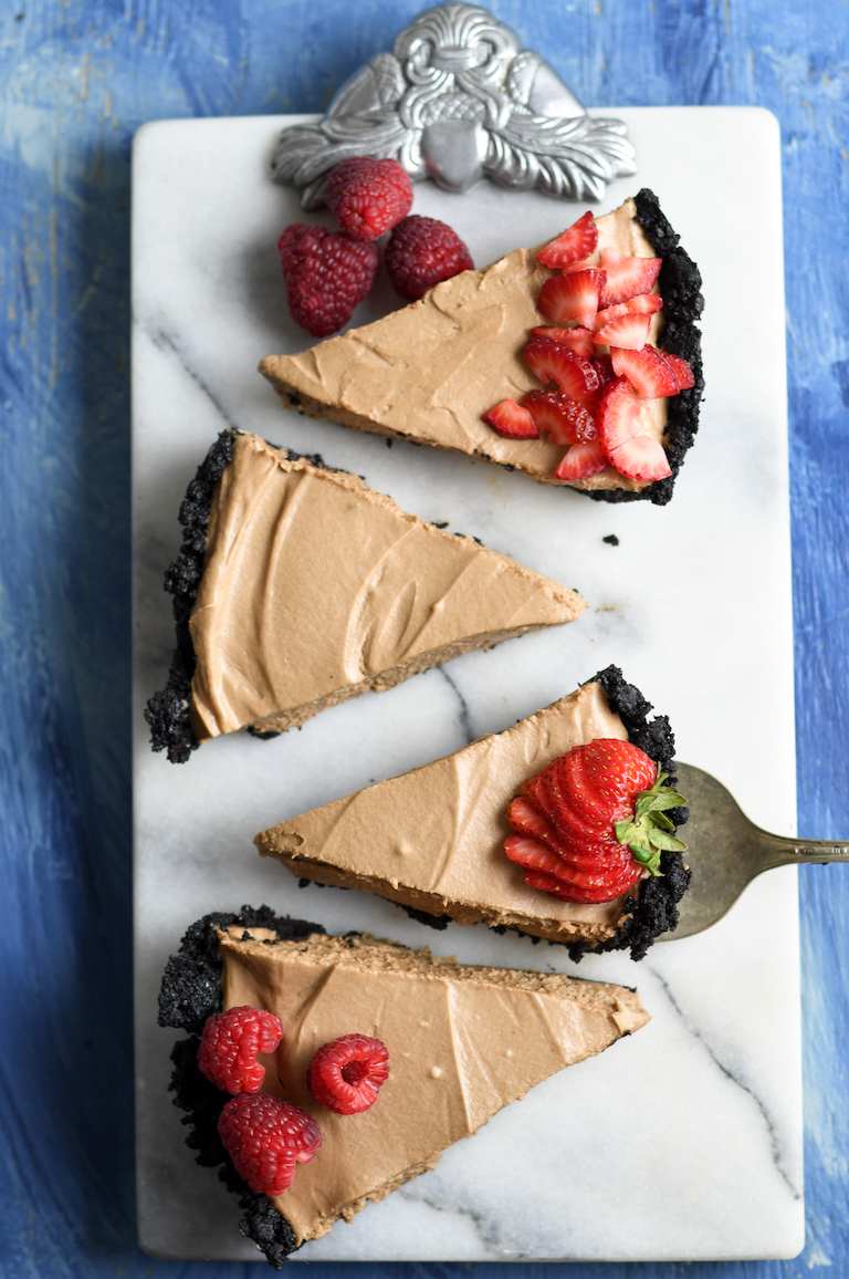 top down view of four pieces of nutella no bake cheesecake