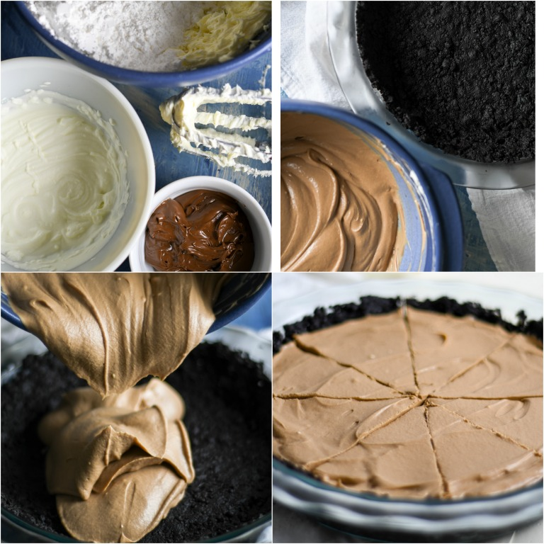 image collage showing the steps for making nutella no bake cheesecake