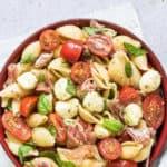 parma ham and caprese pasta salad