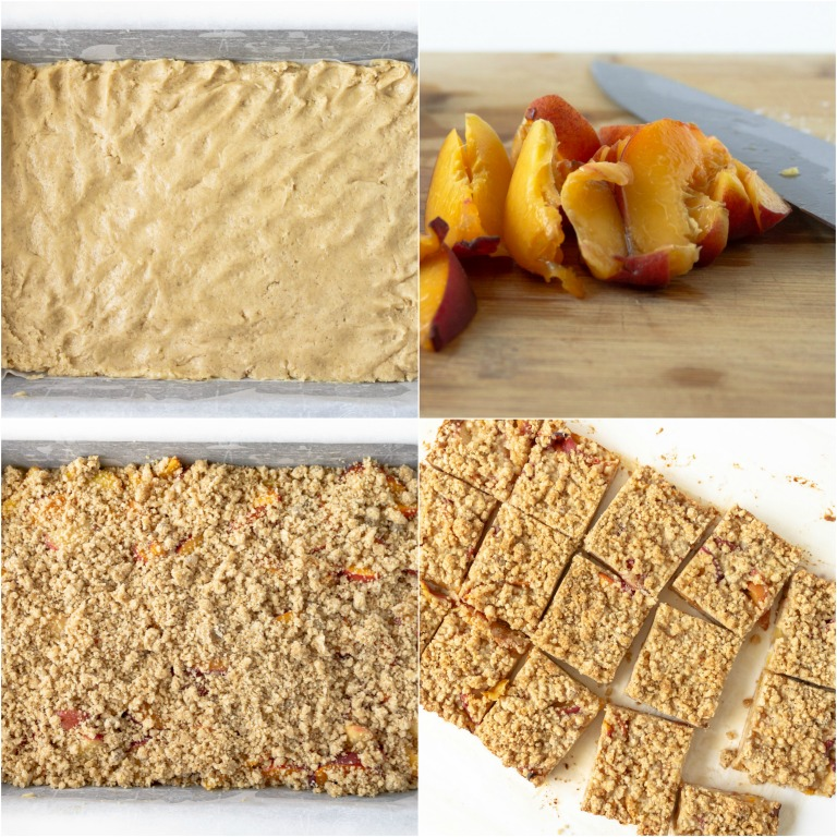 image collage showing steps for making peach crumb bars