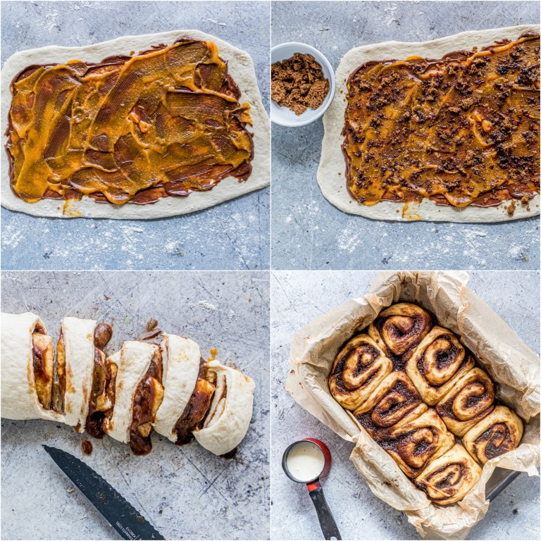 image collage showing the steps for making nutella pumpkin cinnamon rolls