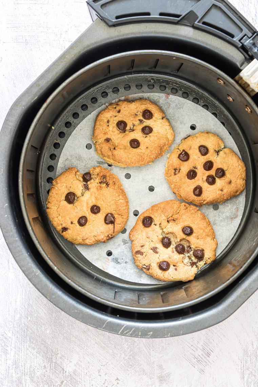 top down view of completed air fryer cookies in the air fryer basket
