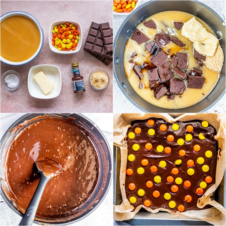 image collage showing the steps for making Halloween dark chocolate fudge