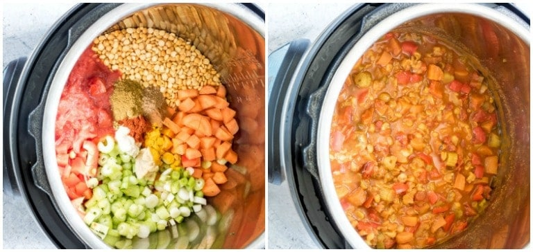 instant pot split pea soup before cooking and after cooking in instant pot