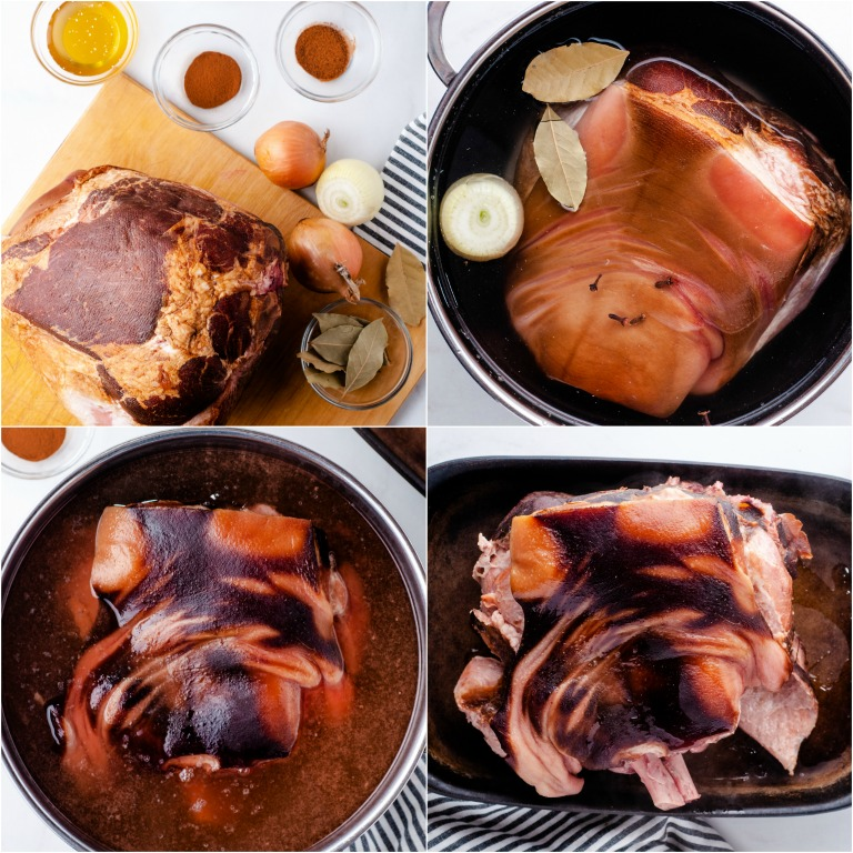 image collage showing the first steps for making picnic ham