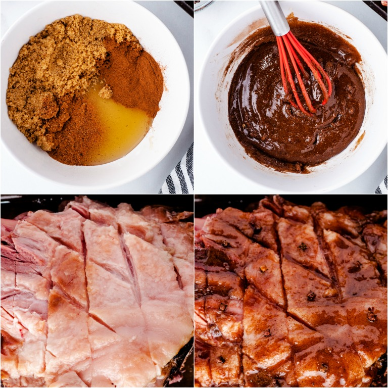 image collage showing the last steps for making picnic ham