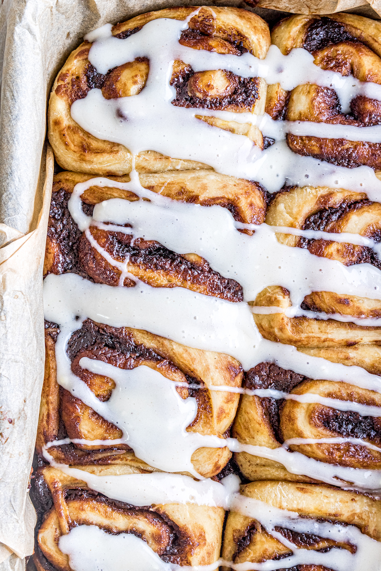 close up view of the finished nutella pumpkin cinnamon rolls