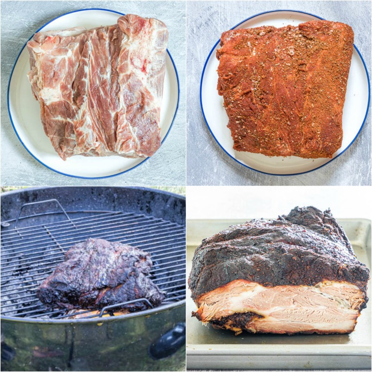 image collage showing the steps for making smoked pork shoulder