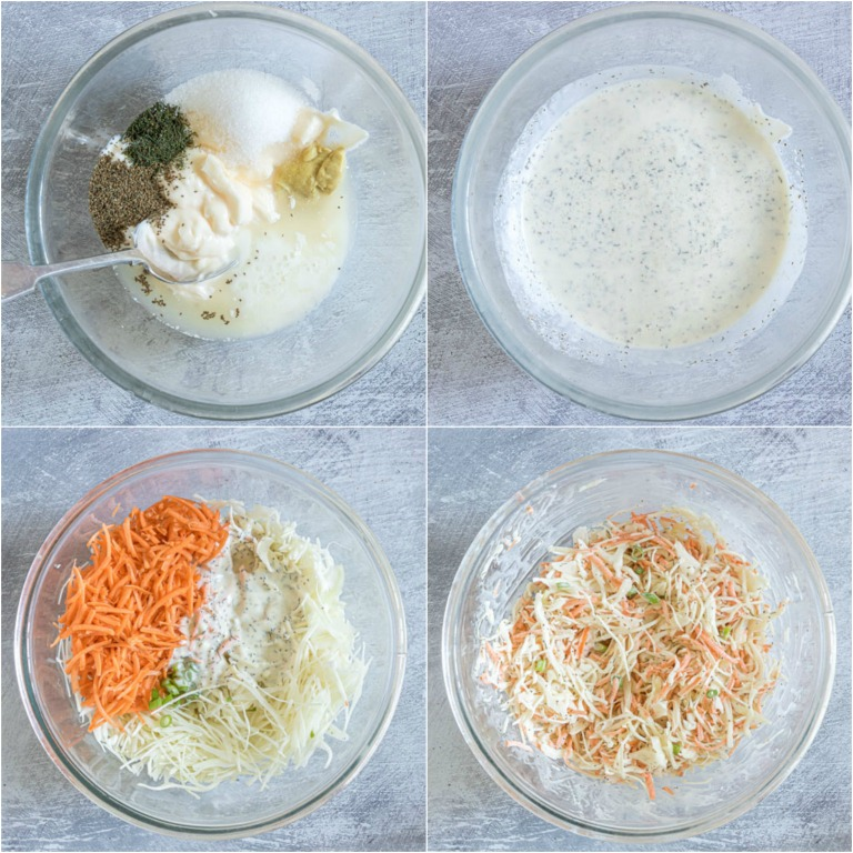 image collage showing the steps for making southern coleslaw recipe