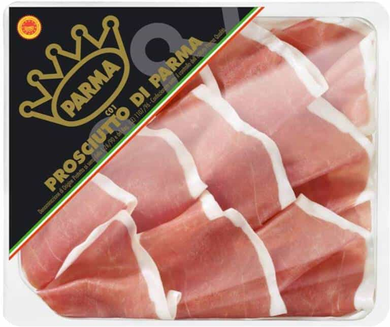 close up view of a package of parma ham