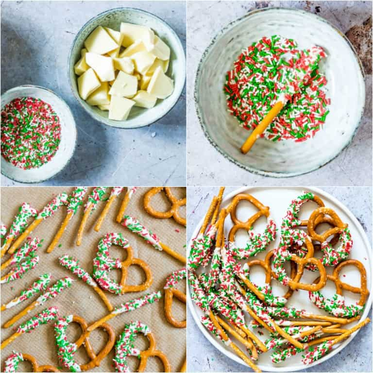 image collage showing the steps for making white chocolate covered pretzels