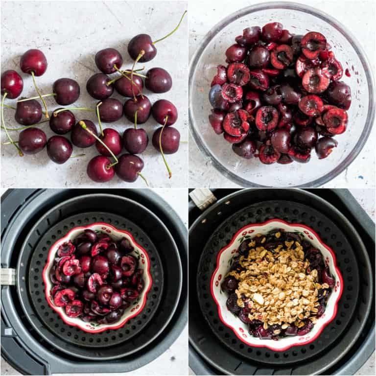 image collage showing the steps for making air fryer cherry crisp