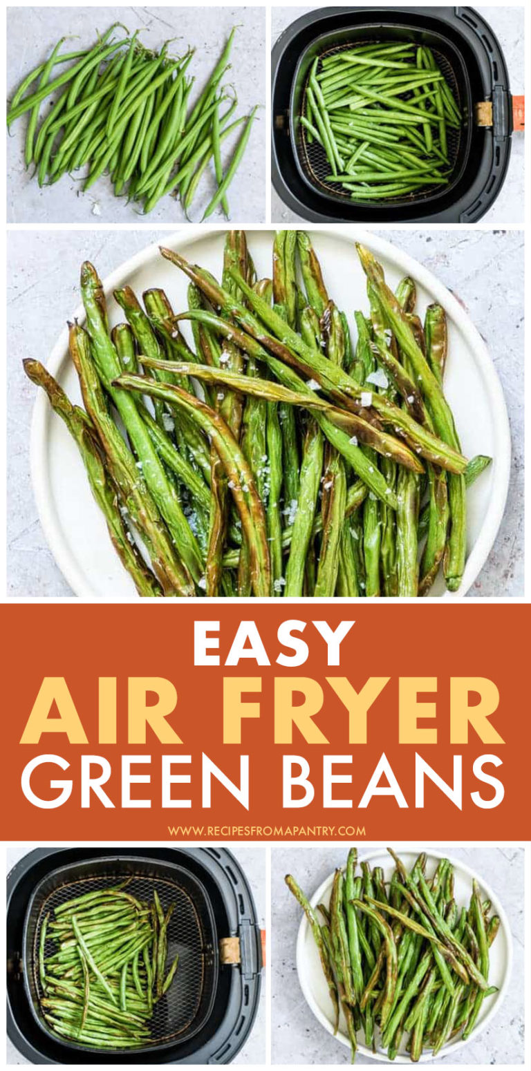 This is a pinterest pin linking to a recipe for Air Fryer green beans